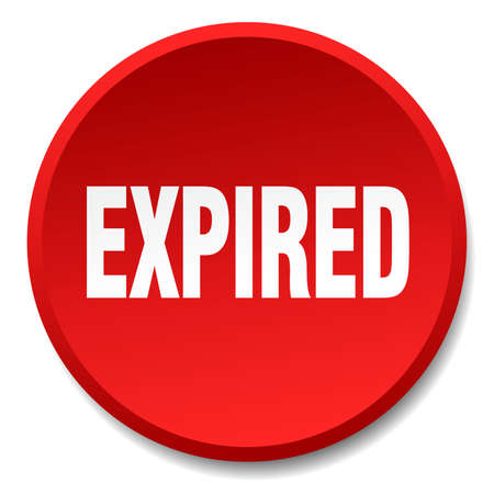 expired: expired red round flat isolated push button Illustration