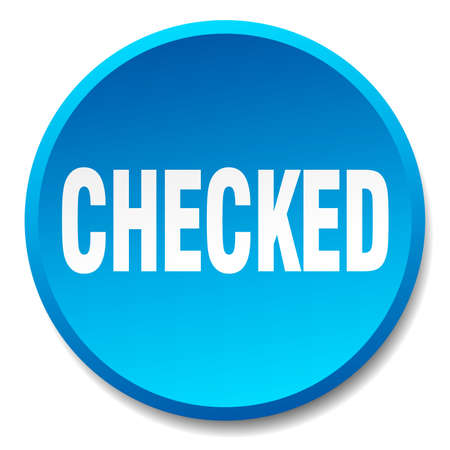checked: checked blue round flat isolated push button