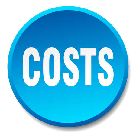 costs: costs blue round flat isolated push button