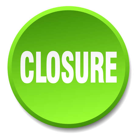 closure: closure green round flat isolated push button Illustration