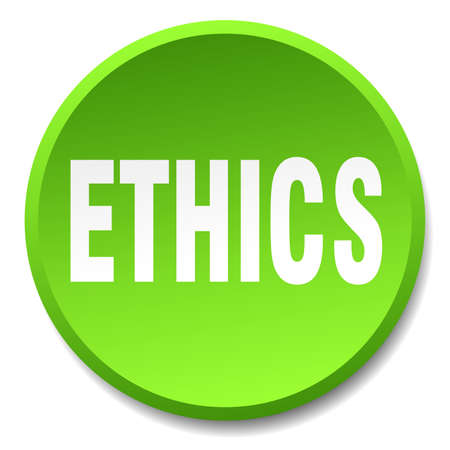 ethics: ethics green round flat isolated push button