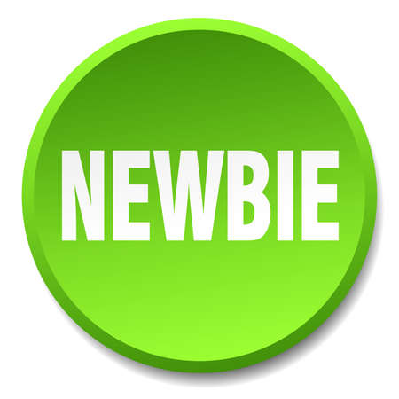 newbie: newbie green round flat isolated push button