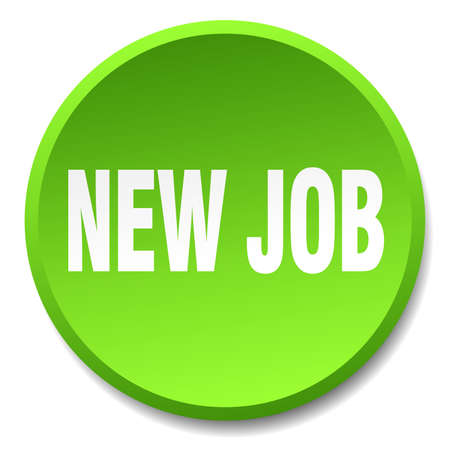 new job: new job green round flat isolated push button