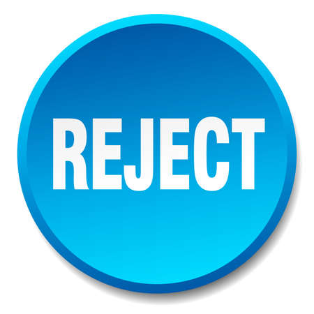 reject: reject blue round flat isolated push button