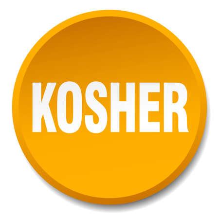 kosher: kosher orange round flat isolated push button Illustration