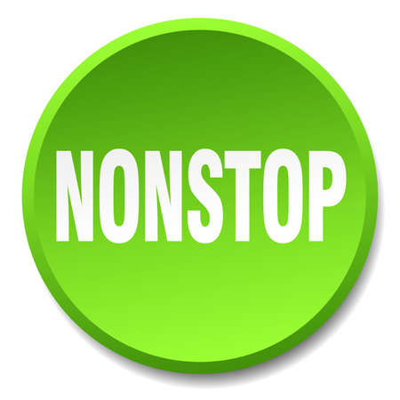 nonstop: nonstop green round flat isolated push button Illustration