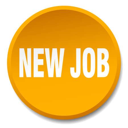 new job: new job orange round flat isolated push button Illustration