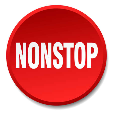 nonstop: nonstop red round flat isolated push button