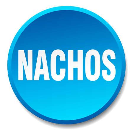 nachos: nachos blue round flat isolated push button