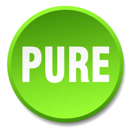 pure: pure green round flat isolated push button