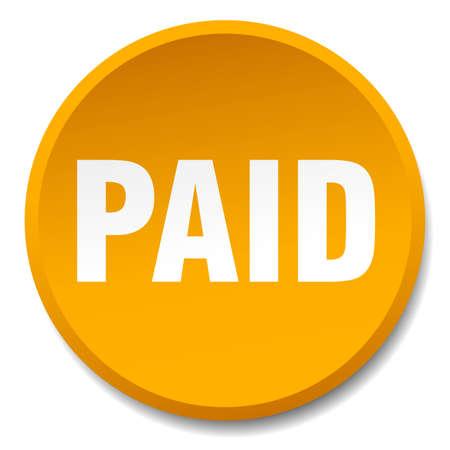 paid: paid orange round flat isolated push button