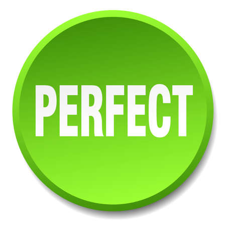 perfect: perfect green round flat isolated push button