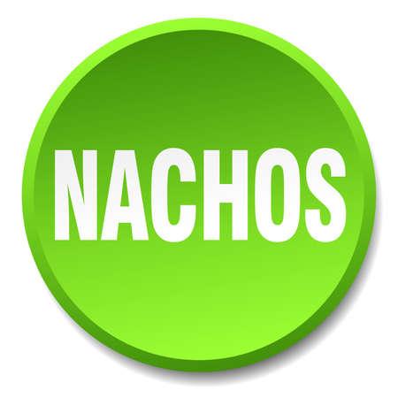 nachos: nachos green round flat isolated push button