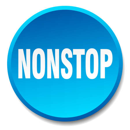 nonstop: nonstop blue round flat isolated push button Illustration