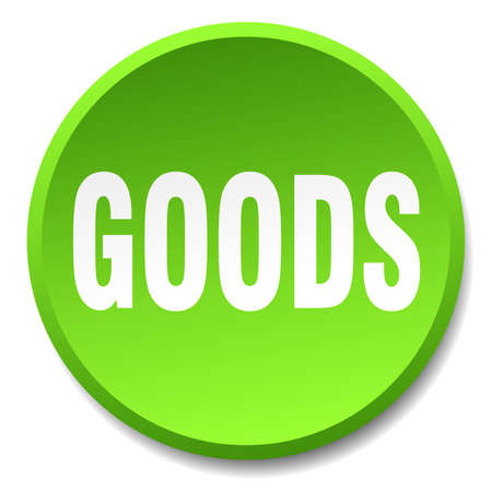 goods green round flat isolated push button