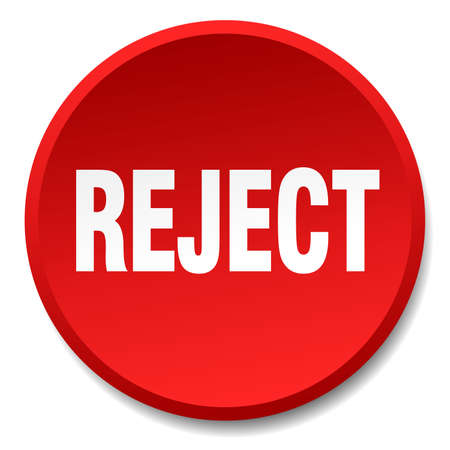 reject: reject red round flat isolated push button