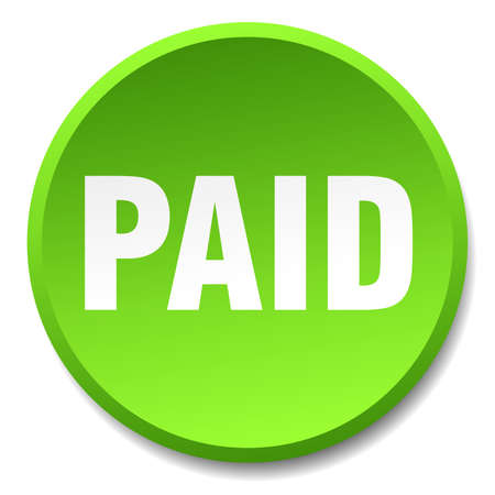 paid: paid green round flat isolated push button