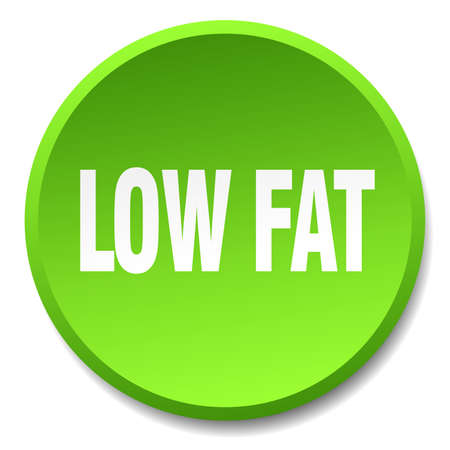 low fat: low fat green round flat isolated push button