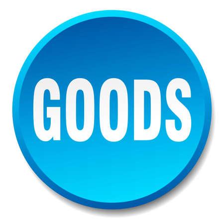 goods blue round flat isolated push button Illustration