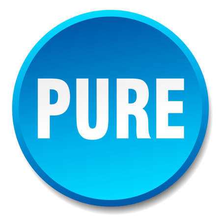 pure: pure blue round flat isolated push button