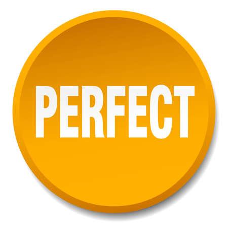 perfect: perfect orange round flat isolated push button Illustration