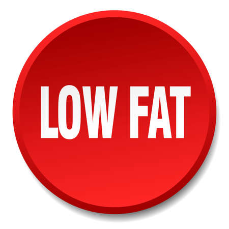 low fat: low fat red round flat isolated push button