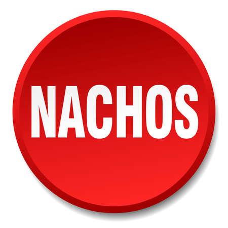 nachos: nachos red round flat isolated push button