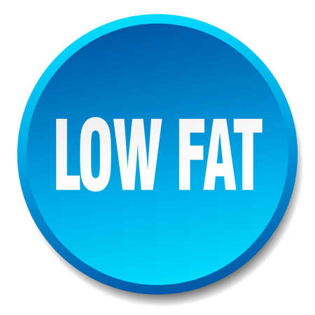 low fat: low fat blue round flat isolated push button Illustration