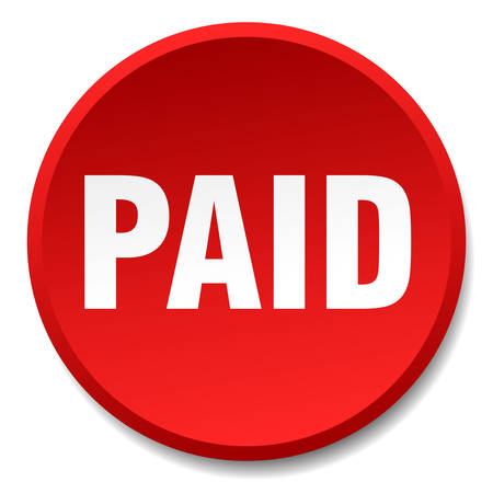 paid: paid red round flat isolated push button