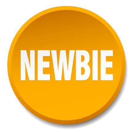 newbie: newbie orange round flat isolated push button
