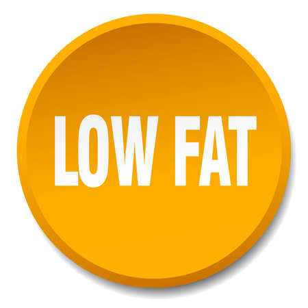 low fat: low fat orange round flat isolated push button