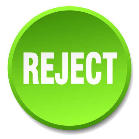 reject: reject green round flat isolated push button