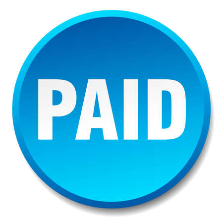 paid: paid blue round flat isolated push button Illustration