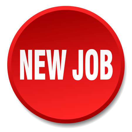 new job: new job red round flat isolated push button
