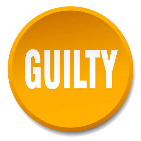 guilty: guilty orange round flat isolated push button
