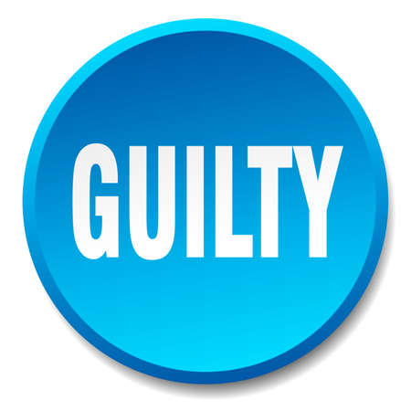 guilty: guilty blue round flat isolated push button