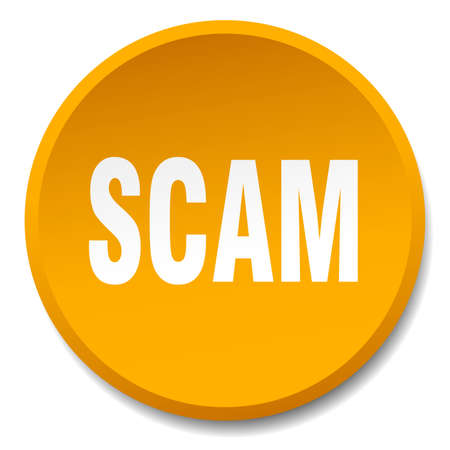 scam: scam orange round flat isolated push button