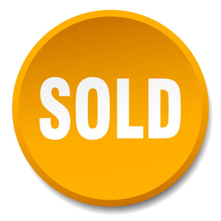 sold isolated: sold orange round flat isolated push button