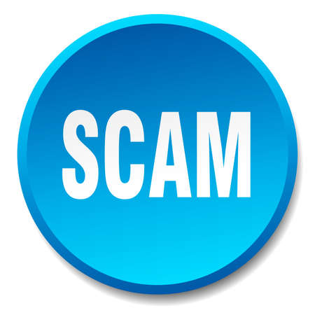 scam: scam blue round flat isolated push button