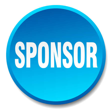 sponsor blue round flat isolated push button