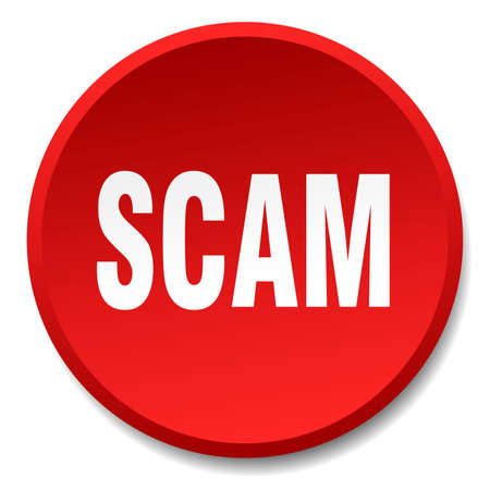 scam: scam red round flat isolated push button