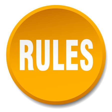 rules: rules orange round flat isolated push button