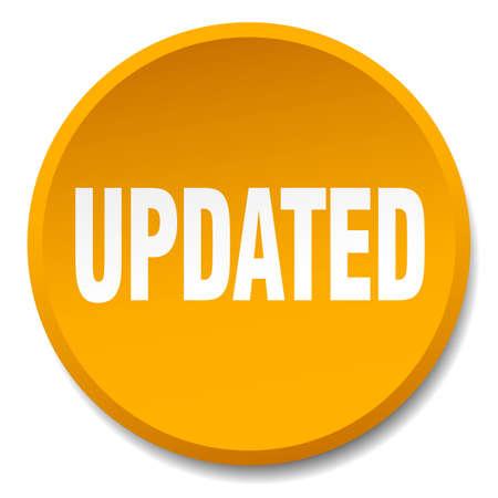 updated: updated orange round flat isolated push button Illustration