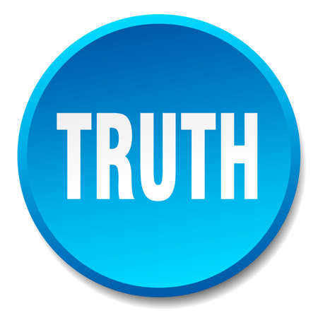 truth: truth blue round flat isolated push button Illustration