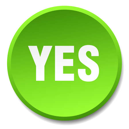green button: yes green round flat isolated push button Illustration