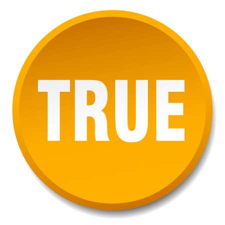true: true orange round flat isolated push button