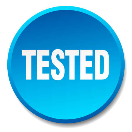 tested: tested blue round flat isolated push button