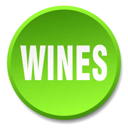 wines: wines green round flat isolated push button