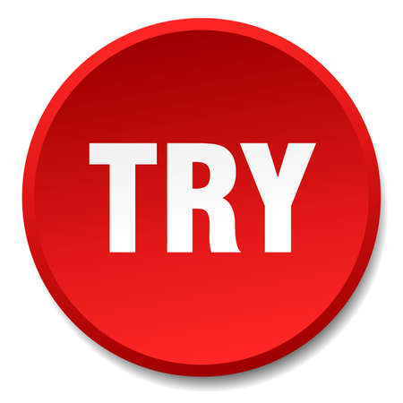 try: try red round flat isolated push button Illustration