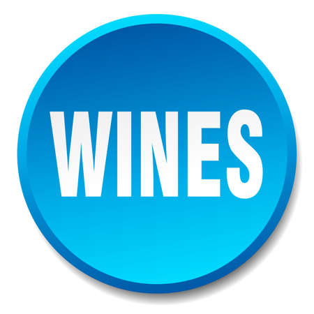 wines: wines blue round flat isolated push button Illustration